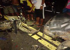 Mauriti-CE: Colisão frontal entre motocicleta e um automóvel deixa uma vítima fatal e outra gravemente ferida.