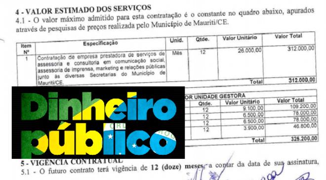Prefeitura de Mauriti lança edital de licitação com valor estimado em mais de trezentos mil reais para Serviços de Assessoria e Comunicação
