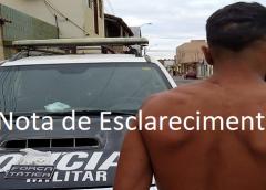 Nota de esclarecimento no caso da moto recuperada de um roubo, prisão por uso de drogas e ameaça em Mauriti.